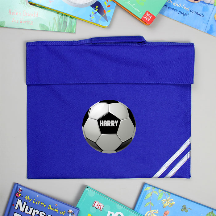 Personalised Football Blue School Book Bag