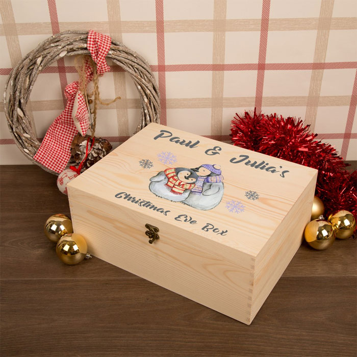 Cuddling Penguins Christmas Eve Box for Couples