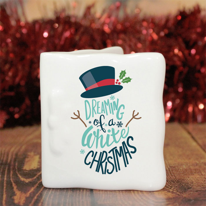 Dreaming of a White Christmas Bone China Message Card