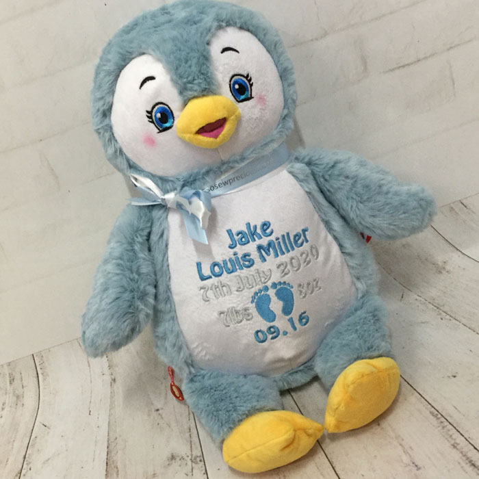 Personalised Cubbies Puddles Blue Penguin Teddy Baby Toy