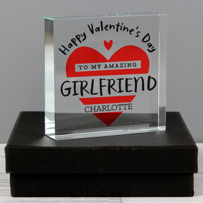 Personalised Valentines Day Crystal Token Red Heart