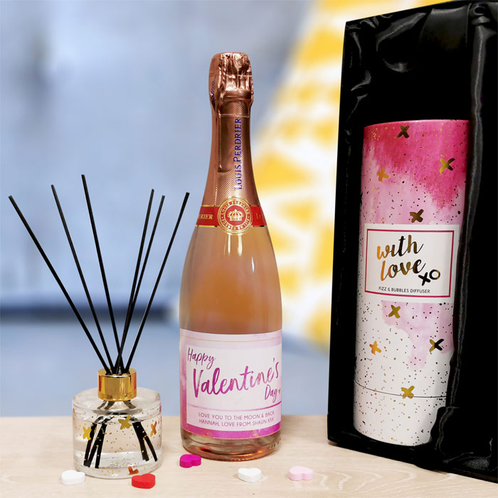 Personalised Fizz & Reed Diffuser Valentines Gift Set
