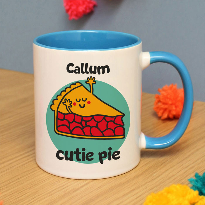 Flossy and Jim Personalised Cutie Pie Blue Inside Mug