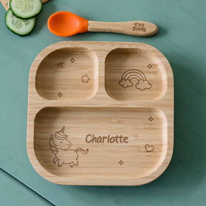Personalised Unicorn Bamboo Suction Plate & Spoon Set