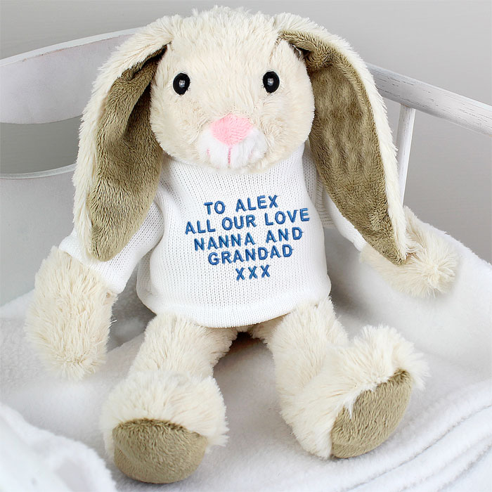 Personalised easter bunny pink or blue embroidery negle Images
