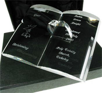 Engraved Crystal Baptism or Christening Bible