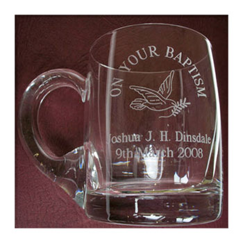 Engraved Glass Baby Cup Tankard