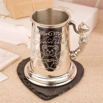 For My Godchild Childs Pewter Tankard Christening Gift
