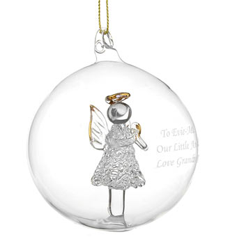 Glass Personalised Christmas Tree Bauble with Angel