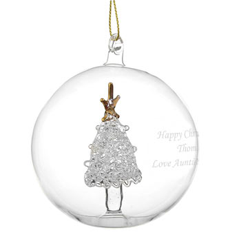 Clear Personalised Glass Bauble with Christmas Tree