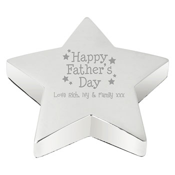 Happy Fathers Day Personalised Star Paperweight