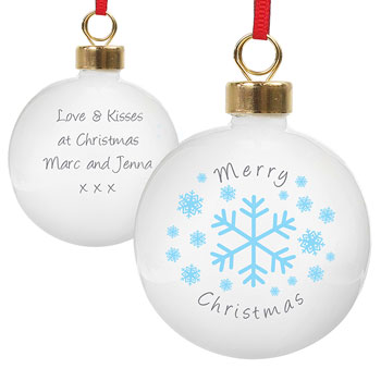 Classic Snowflake Personalised Christmas Tree Bauble