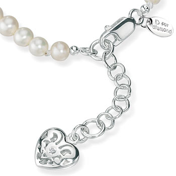 Freshwater Pearl and Silver Heart Bracelet by D for Diamond