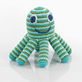 Pebble Fair Trade Crochet Octopus Baby Rattle - Blue/Green