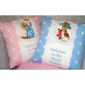 Beatrix Potter Welcome to the World Personalised Cushion