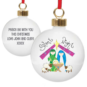 Nativity Silent Night Personalised Tree Bauble