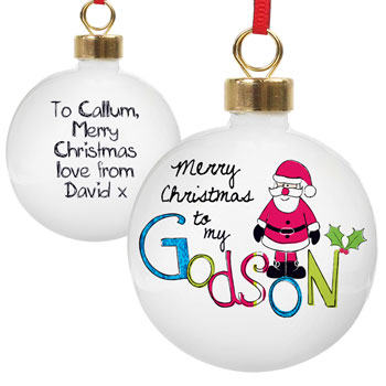 Exclusive Godson Personalised Christmas Tree Bauble