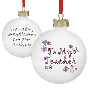 To My Teacher Personalised Christmas Tree Bauble