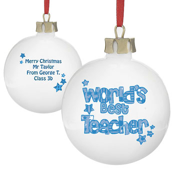 Worlds Best Teacher Personalised Bauble - Pink/Blue