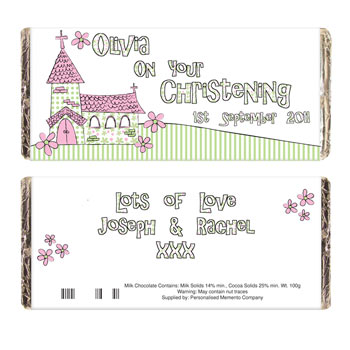 Personalised Church Chocolate Bar Pink or Blue