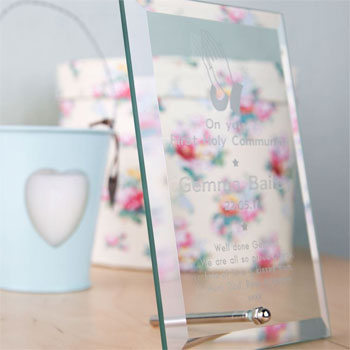 Engraved Glass Communion Plaque