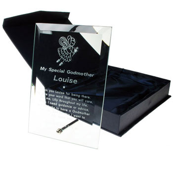 Engraved Glass Godmother Plaque