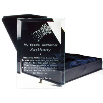 Engraved Godfather Glass Plaque