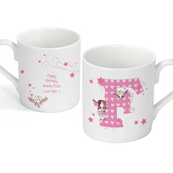Personalised China Fairy Initial Mug Childrens Gift
