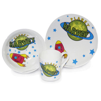 Personalised Space China Breakfast Set
