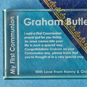 Engraved First Communion Jade Block Eucharist Design