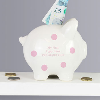 Personalised Pink Polka Dot Ceramic Piggy Bank