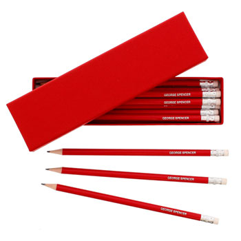 Box of Personalised Red Pencils