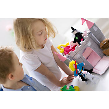 Fabric Toy Castle Play Set by Oskar and Ellen Pink Turrets