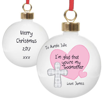 Personalised Godmother Christmas Tree Bauble