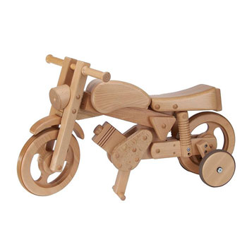 3 in 1 Wooden Rocker Ride On Motorbike Toy Natural Wood