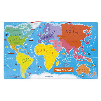 Large Wooden Magnetic World Map Puzzle by Janod