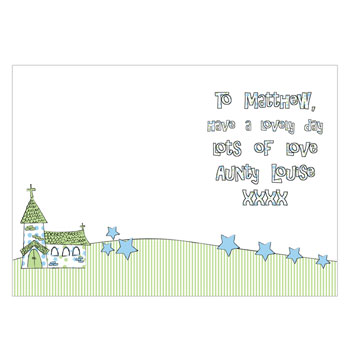 Personalised Church Card Pink or Blue Free Delivery