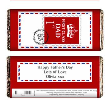 Personalised Fathers Day 1st Class Chocolate Bar
