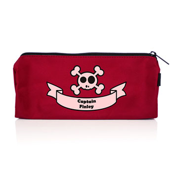 Red Skull and Cross Bones Personalised Pencil Case