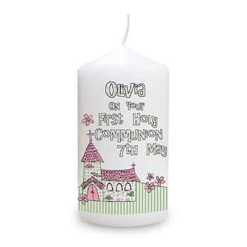 Church Personalised 1st Holy Communion Candle Boy Girl