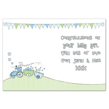Whimsical Train Its a Boy Card Free Delivery