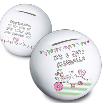 Whimsical Pram Its a Girl Personalised Moneybox