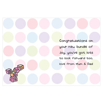 Bang on the Door Personalised Baby Girl Card Free Delivery