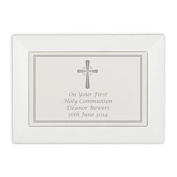 Personalised Silver Cross White Wooden Jewellery Box