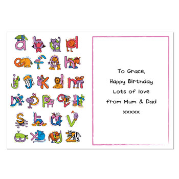Personalised Bang On The Door Animal Alphabet Girls Card