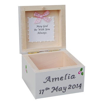 First Holy Communion Rosary Box Pink
