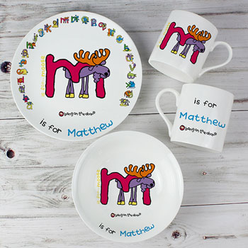 Personalised Animal Alphabet Boys China Breakfast Set