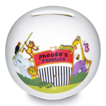 Personalised China Zoo Money Box