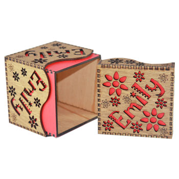 Girls Personalised Wooden Name Box