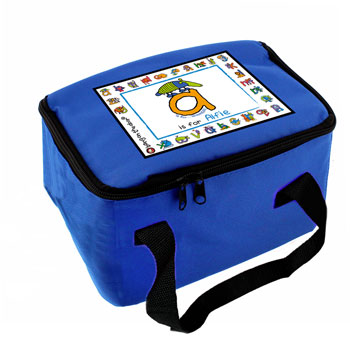 Personalised Blue Animal Alphabet Insulated Lunch Bag